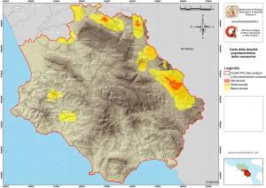 Carta della densità popolazionistica delle cornacchie